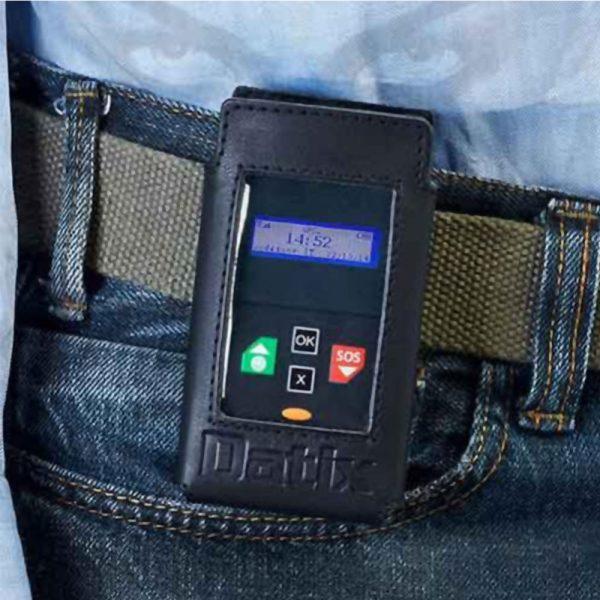 Custodia da cintura in pelle per Datix NaNo G GPS Safe dispositivo di allarme per uomo a terra