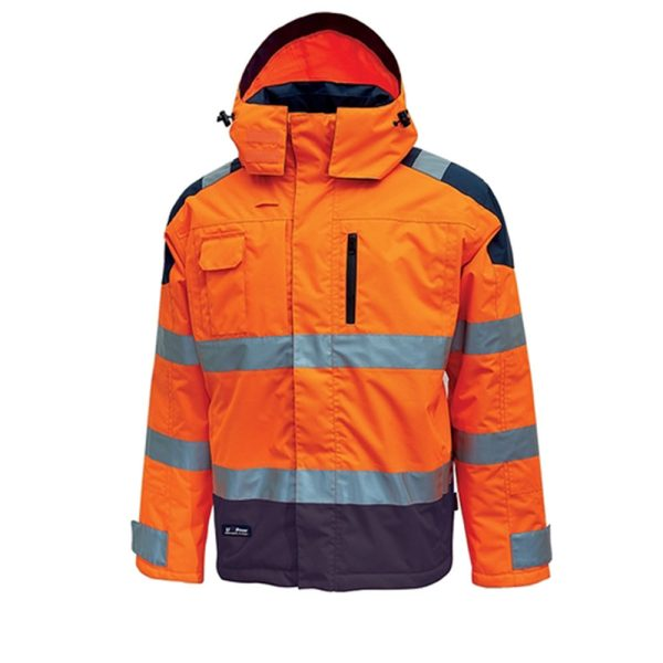 U Power Defender HV Parka Orange Fluo HL169OF Waterproof and breathable rainproof parka