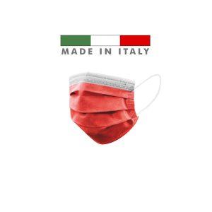 Mascherine Chirurgiche D. Medico Classe 1 EN 14683 Made In Italy Rossa