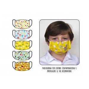 Masques chirurgicaux pour enfants 3 plis Maskjunior 10 pièces 5 fantasmes Dispositif médical Classe 1 EN 14683 Made In Italy