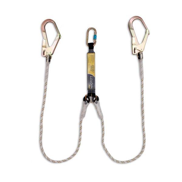 Irudek Sekuralt 363 - Cordino anticaduta con assorbitore di energia e corda semistatica doppia con moschettone grande MGO