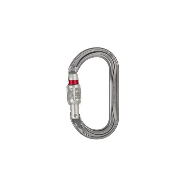 Petzl OK Screw Lock Grigio moschettone ovale in alluminio leggero