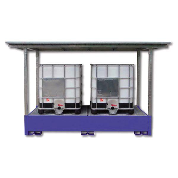 Airbank vasca di raccolta in acciaio per 2 cisternette IBC verniciata e tettoia