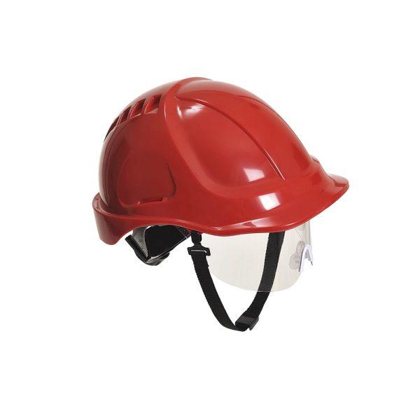 Portwest Endurance Plus PW54RER elmetto da cantiere rosso con visiera