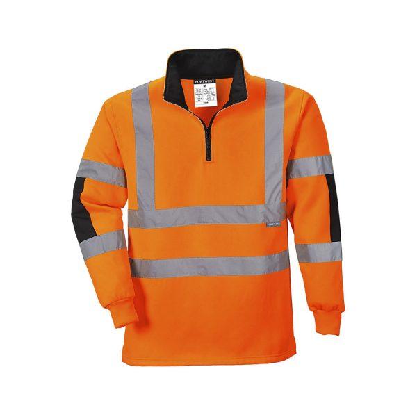 Portwest Rugby Xenon B308 OR felpa alta visibilità mezza zip arancio